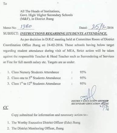 INSTRUCTIONS REGARDING STUDENTS ATTENDANCE IN JHANG