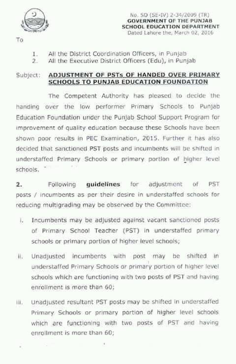 ADJUSTMENT OF PSTs OF HANDED OVER PRIMARY SCHOOLS TO PUNJAB EDUCATION FOUNDATION-1