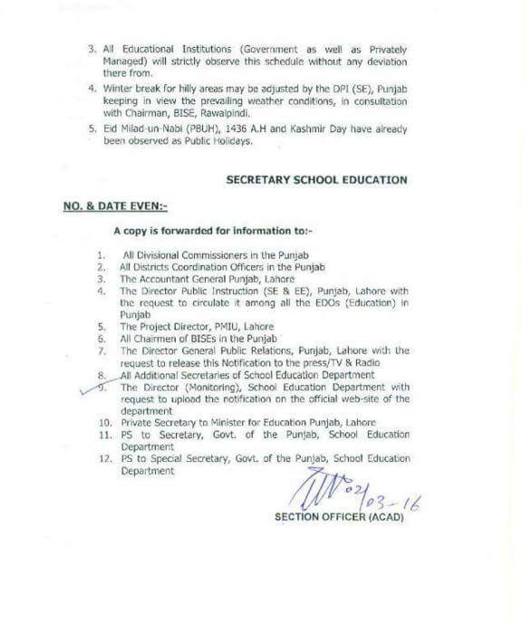 HOLIDAYS SCHEDULE 2016 OBSERVED IN ALL SCHOOLS GOVERNMENTPRIVATE IN PUNJAB PROVINCE
