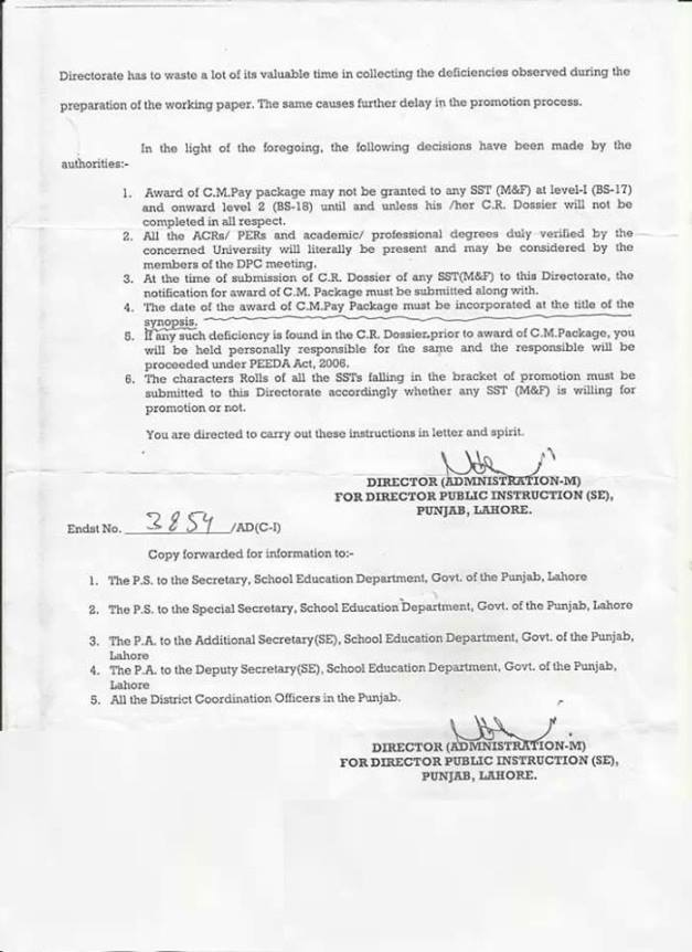 Instructions Regarding Award of CM Package of SSTs for Level 1 and Level 2