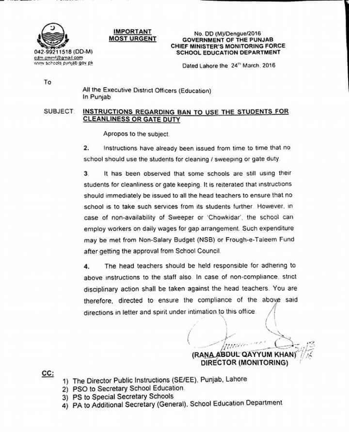 INSTRUCTIONS REGARDING BAN TO USE THE STUDENTS FOR CLEANLINESS OR GATE DUTY