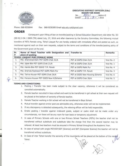 Liaquatpur FeMale PSTs Mutual Transfer Orders issued by EDO education RYK