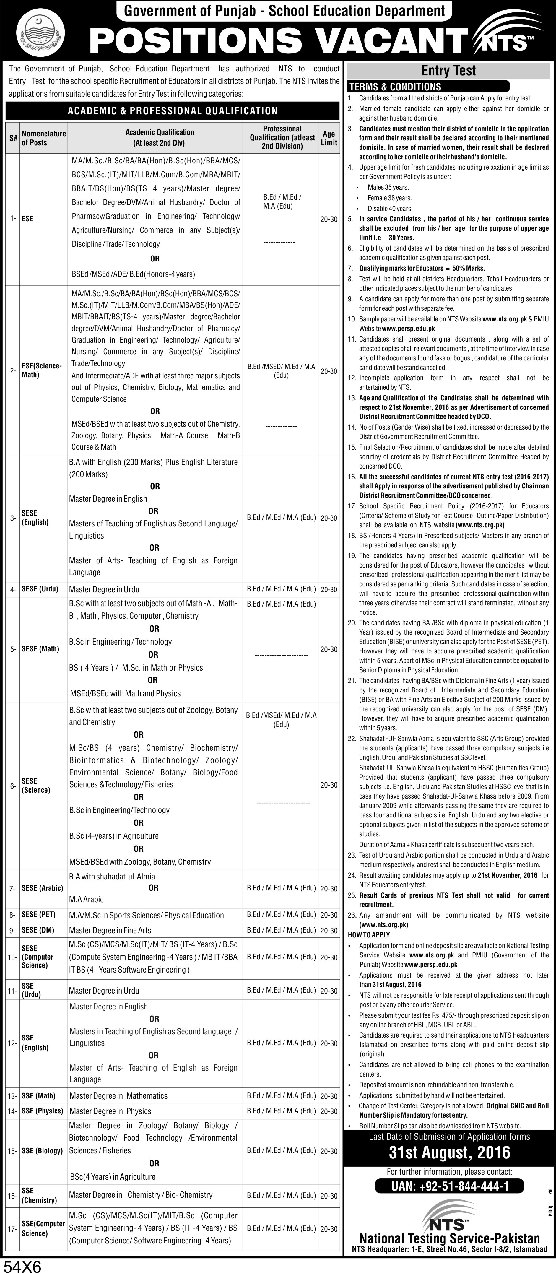Punjab School Education Department announced Educator Jobs 2016 Advertisement