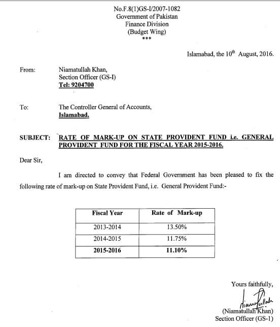 RATE OF MARK-UP ON STATE PROVIDENT FUND GENERAL PROVIDENT FUND 2015 2016