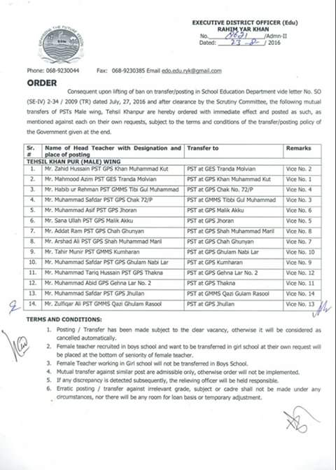 Tehsil Khanpur Male PSTs Mutual Transfer Orders issued by EDO education RYK