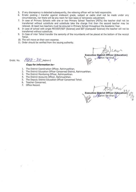 Tehsil Sadiqabad Female PSTs Mutual Transfer Orders Issued by EDO Education RYK 2