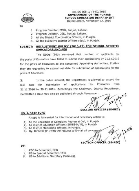 DATE EXTENDED NOTIFICATION FOR SUBMISSION OF APPLICATION IN APPOINTING AUTHORITY