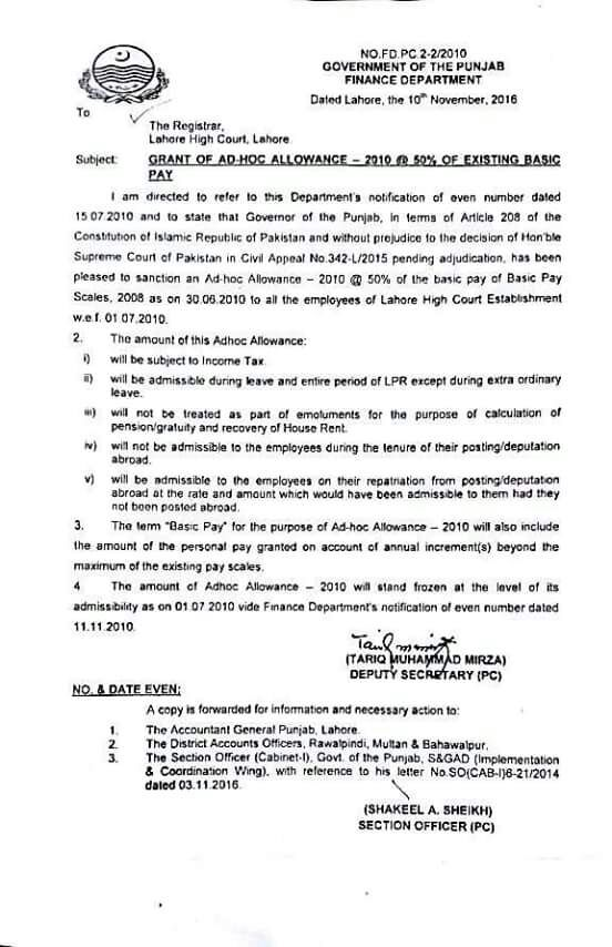 GRANT OF AD HOC ALLOWANCE 2010 @ 50% OF EXISTING BASIC PAY